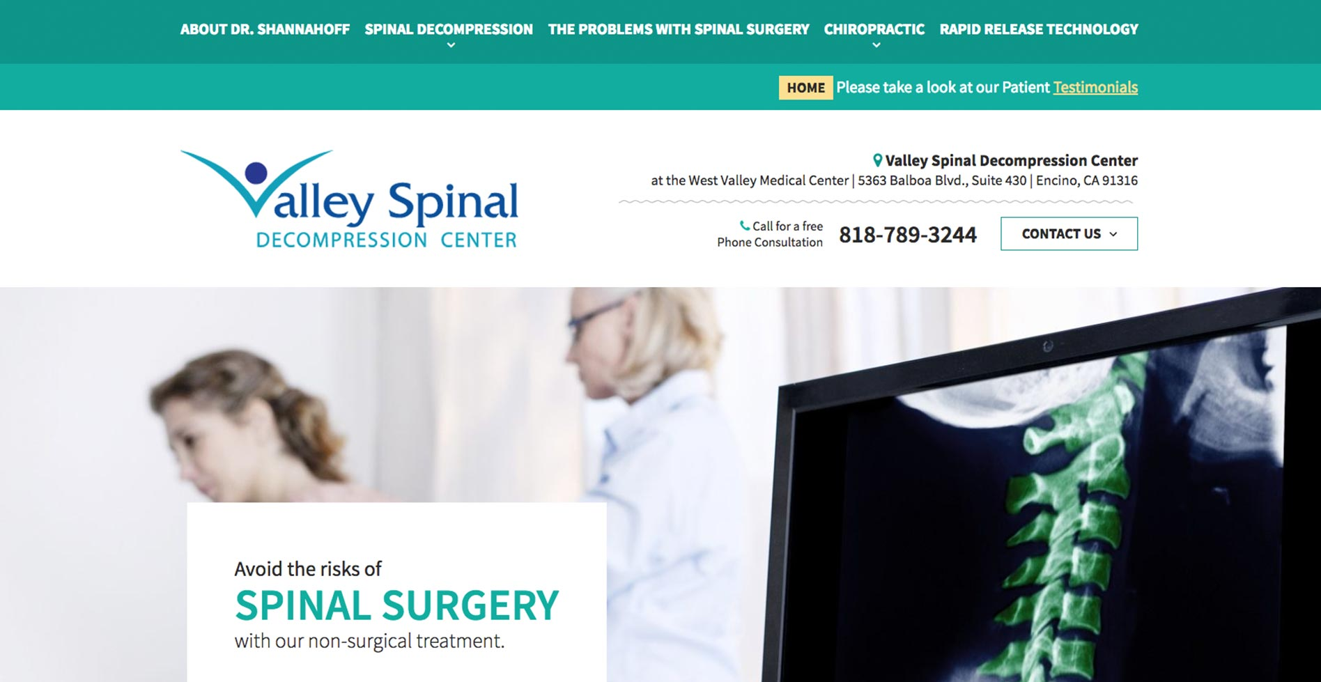 Valley Spinal Decompression Center Website