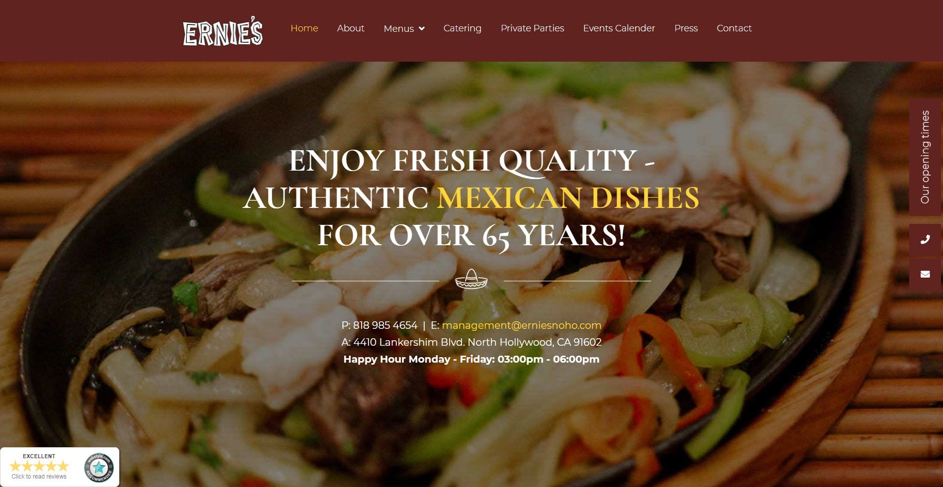 Ernies Mexican Restaurant Website