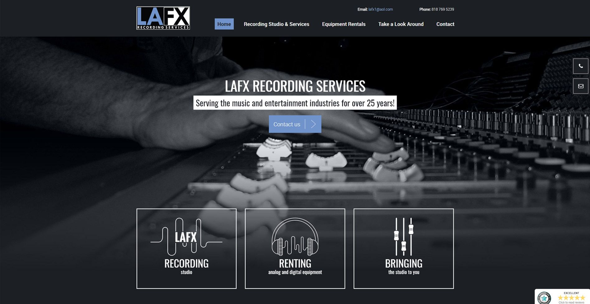 LAFX Recording services Website