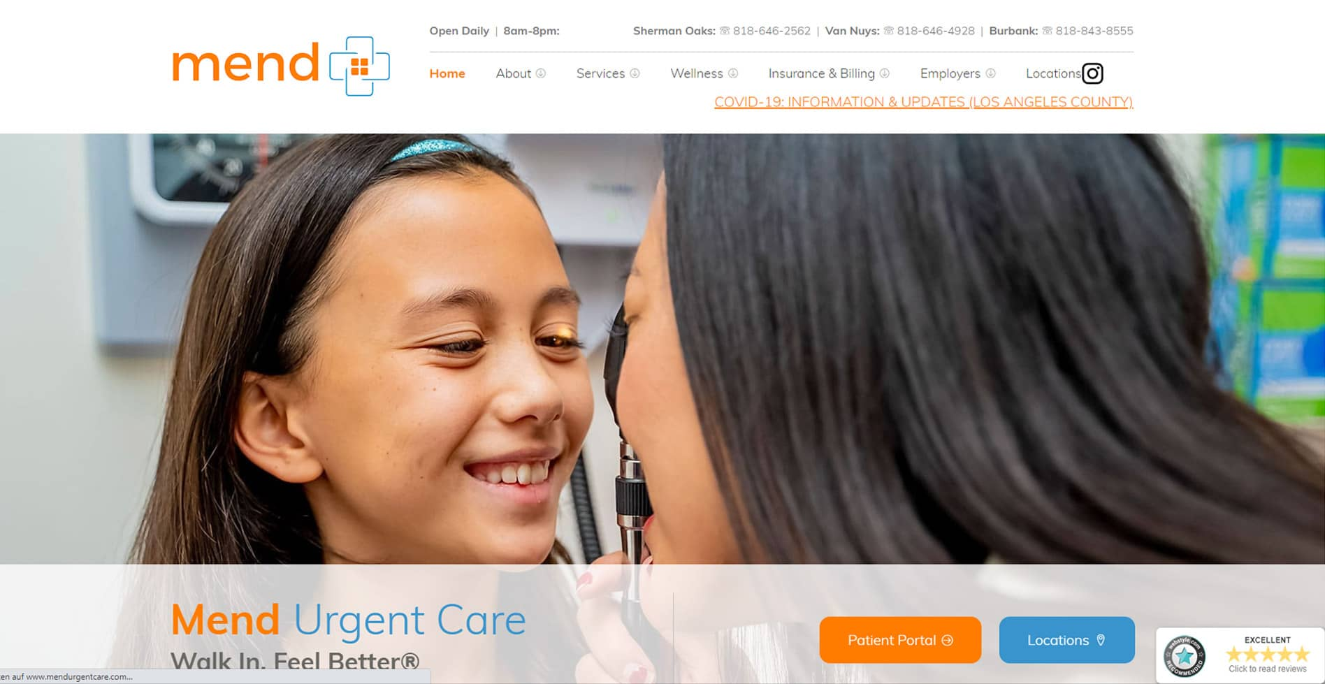 Mend Urgent Care Website
